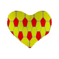 Football Blender Image Map Red Yellow Sport Standard 16  Premium Flano Heart Shape Cushions by Alisyart