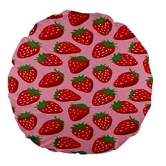 Fruit Strawbery Red Sweet Fres Large 18  Premium Flano Round Cushions by Alisyart