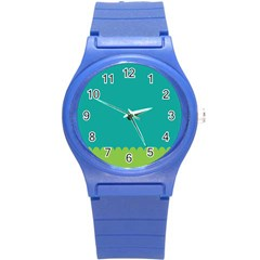 Green Blue Teal Scallop Wallpaper Wave Round Plastic Sport Watch (s) by Alisyart