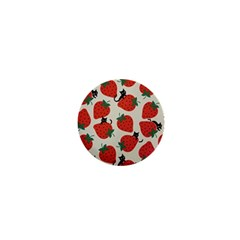 Fruit Strawberry Red Black Cat 1  Mini Buttons by Alisyart