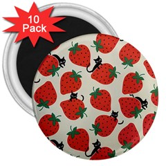 Fruit Strawberry Red Black Cat 3  Magnets (10 Pack)  by Alisyart