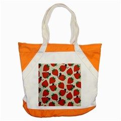 Fruit Strawberry Red Black Cat Accent Tote Bag by Alisyart