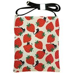 Fruit Strawberry Red Black Cat Shoulder Sling Bags by Alisyart