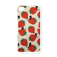 Fruit Strawberry Red Black Cat Apple Iphone 4 Case (white) by Alisyart