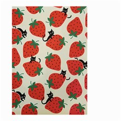 Fruit Strawberry Red Black Cat Small Garden Flag (two Sides) by Alisyart