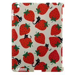 Fruit Strawberry Red Black Cat Apple Ipad 3/4 Hardshell Case (compatible With Smart Cover) by Alisyart