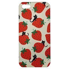 Fruit Strawberry Red Black Cat Apple Iphone 5 Hardshell Case by Alisyart