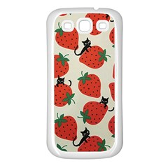 Fruit Strawberry Red Black Cat Samsung Galaxy S3 Back Case (white) by Alisyart