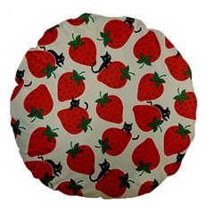 Fruit Strawberry Red Black Cat Large 18  Premium Flano Round Cushions by Alisyart