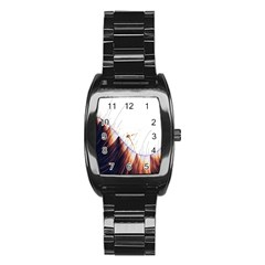 Abstract Lines Stainless Steel Barrel Watch by Simbadda