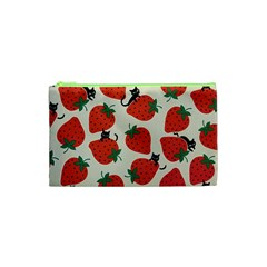 Fruit Strawberry Red Black Cat Cosmetic Bag (xs) by Alisyart