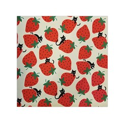 Fruit Strawberry Red Black Cat Small Satin Scarf (square) by Alisyart