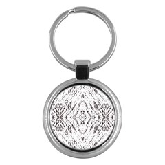 Pattern Monochrome Terrazzo Key Chains (round)  by Simbadda
