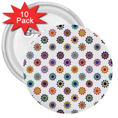 Flowers Color Artwork Vintage Modern Star Lotus Sunflower Floral Rainbow 3  Buttons (10 Pack)