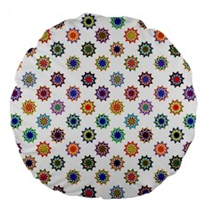 Flowers Color Artwork Vintage Modern Star Lotus Sunflower Floral Rainbow Large 18  Premium Round Cushions by Alisyart