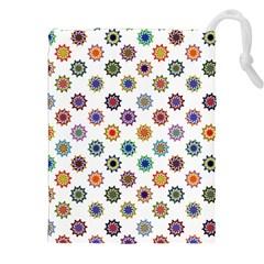 Flowers Color Artwork Vintage Modern Star Lotus Sunflower Floral Rainbow Drawstring Pouches (xxl) by Alisyart