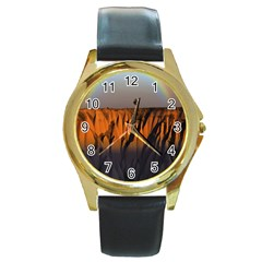Rainbows Landscape Nature Round Gold Metal Watch