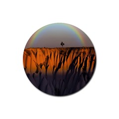 Rainbows Landscape Nature Rubber Round Coaster (4 Pack)  by Simbadda