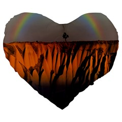 Rainbows Landscape Nature Large 19  Premium Heart Shape Cushions by Simbadda