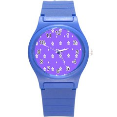Light Purple Flowers Background Images Round Plastic Sport Watch (s) by Alisyart