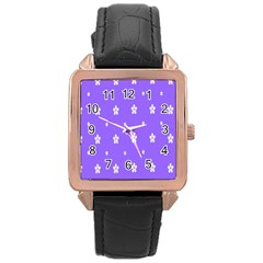 Light Purple Flowers Background Images Rose Gold Leather Watch  by Alisyart