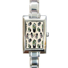 Succulent Plants Pattern Lights Rectangle Italian Charm Watch by Simbadda