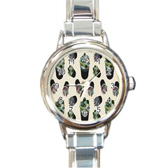 Succulent Plants Pattern Lights Round Italian Charm Watch by Simbadda