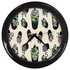 Succulent Plants Pattern Lights Wall Clocks (black) by Simbadda