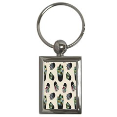 Succulent Plants Pattern Lights Key Chains (rectangle)  by Simbadda