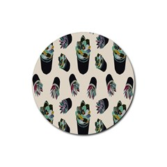 Succulent Plants Pattern Lights Rubber Round Coaster (4 Pack)  by Simbadda