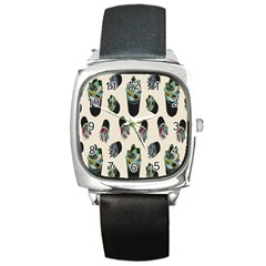 Succulent Plants Pattern Lights Square Metal Watch by Simbadda