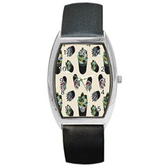 Succulent Plants Pattern Lights Barrel Style Metal Watch by Simbadda