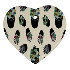 Succulent Plants Pattern Lights Heart Ornament (two Sides) by Simbadda