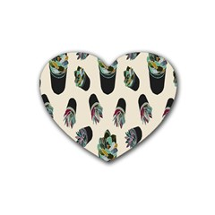 Succulent Plants Pattern Lights Heart Coaster (4 Pack)  by Simbadda