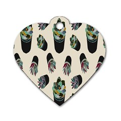 Succulent Plants Pattern Lights Dog Tag Heart (two Sides) by Simbadda