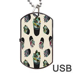 Succulent Plants Pattern Lights Dog Tag Usb Flash (one Side) by Simbadda