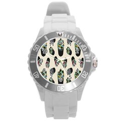 Succulent Plants Pattern Lights Round Plastic Sport Watch (l) by Simbadda