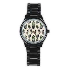 Succulent Plants Pattern Lights Stainless Steel Round Watch by Simbadda