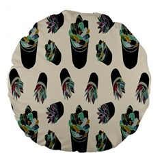 Succulent Plants Pattern Lights Large 18  Premium Flano Round Cushions by Simbadda