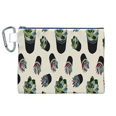 Succulent Plants Pattern Lights Canvas Cosmetic Bag (xl) by Simbadda