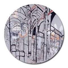 Cityscapes England London Europe United Kingdom Artwork Drawings Traditional Art Round Mousepads by Simbadda