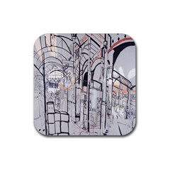 Cityscapes England London Europe United Kingdom Artwork Drawings Traditional Art Rubber Coaster (square)  by Simbadda