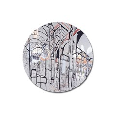 Cityscapes England London Europe United Kingdom Artwork Drawings Traditional Art Magnet 3  (round) by Simbadda