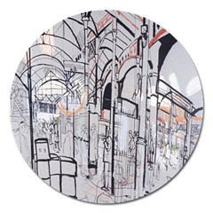 Cityscapes England London Europe United Kingdom Artwork Drawings Traditional Art Magnet 5  (round) by Simbadda