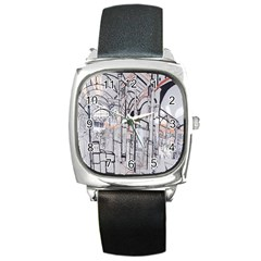 Cityscapes England London Europe United Kingdom Artwork Drawings Traditional Art Square Metal Watch by Simbadda