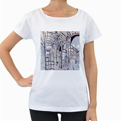 Cityscapes England London Europe United Kingdom Artwork Drawings Traditional Art Women s Loose Fit T Shirt (white) by Simbadda