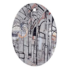 Cityscapes England London Europe United Kingdom Artwork Drawings Traditional Art Oval Ornament (two Sides) by Simbadda