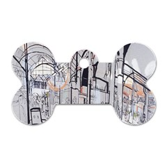 Cityscapes England London Europe United Kingdom Artwork Drawings Traditional Art Dog Tag Bone (Two Sides) by Simbadda