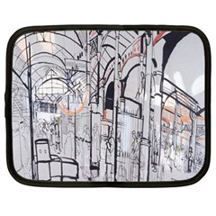 Cityscapes England London Europe United Kingdom Artwork Drawings Traditional Art Netbook Case (XXL)  by Simbadda