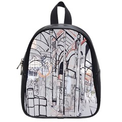 Cityscapes England London Europe United Kingdom Artwork Drawings Traditional Art School Bags (small)  by Simbadda